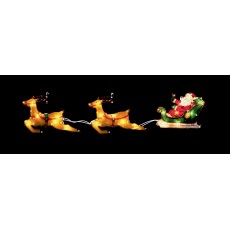 Warm White 78cm x 24cm LED Santa in Sleigh