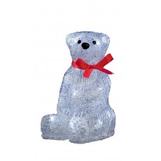 20cm Acrylic Polar Bear with Red Bow & 20 White LED Lights