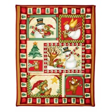 Snowman & Bears 160cm x 130cm Fleece Throw