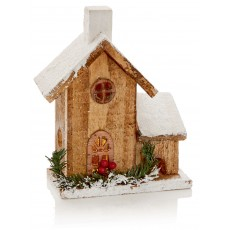 Warm White 20cm Lit Wooden House