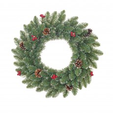 Creston 45cm Green Wreath with Berries & Frosted Tips