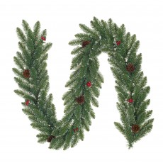Creston 180cm Green Garland with Berries & Frosted Tips