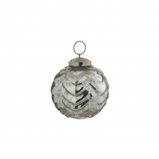 Silver 8cm Glass Bauble