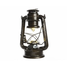 Brown Antique Battery Operated 16cm x 23.5cm Metal Storm Lantern
