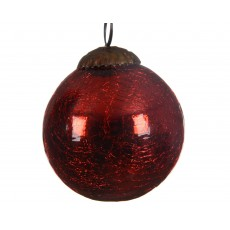 Red 7.5cm Glass Crackle Christmas Bauble