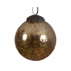 Blond 7.5cm Glass Crackle Christmas Bauble