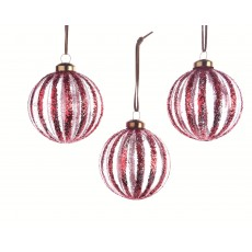 Red 8cm Christmas Ribbed Bauble with Glitter