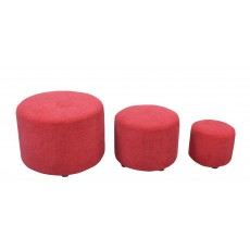 Troy Nest of 3 Footstools Red Fabric C