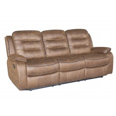 Marchesi 3 Seater Reclining Fabric Sofa Caramel