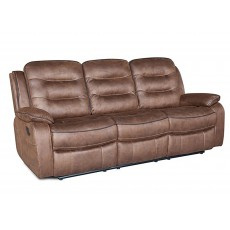 Marchesi 3 Seater Reclining Fabric Sofa Brown