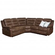 Marchesi 4+ Corner Sofa With 2 Manual Recliners Suede Look Brown