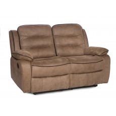 Marchesi 2 Seater Reclining Fabric Sofa Caramel