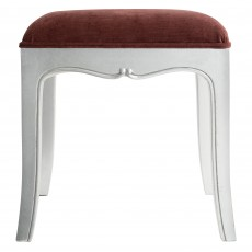 Araminta Silver Leaf Bedroom Stool c/w Upholstered Seat Pad
