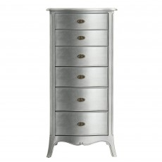 Araminta Silver Leaf 6 Drawer Tallboy