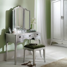 Araminta Silver Leaf Dressing Table c/w Vanity Mirror