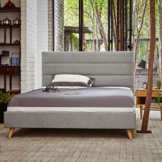 Isabella Double (135cm) Light Grey Upholstered Bedstead