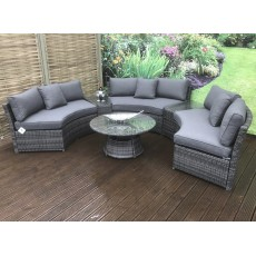 Juliet Grey 8+ Seater Semi Circular Sofa Set With Coffee Table & Side Tables