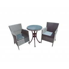 Katie Blake by Glencrest Seatex Chatsworth Grey 2 Seater Bistro Set Grey Cushions