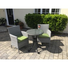Katie Blake by Glencrest Seatex Chatsworth Grey 2 Seater Bistro Set Lime Cushion