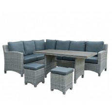 Katie Blake by Glencrest Seatex Chatsworth Grey 8+ Corner Sofa Dining Set with 2 Stools