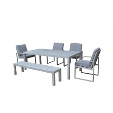 Alarna Aluminium Hand Painted 6 Seater Dining Set With Bench