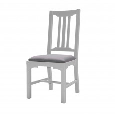 Seychelles Light Grey Slatted Dining Chair With Upholstered Seat Pad Grey