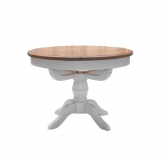Seychelles Light Grey & Oak 4-6 Person Round Extending Dining Table + 4 Slat Back Chairs