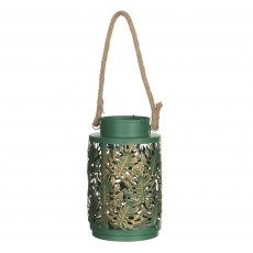 MICA Green & Gold Leaf Patterned Lantern