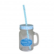 Glass Jar with Handle & Straw