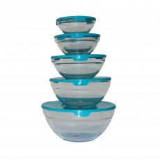 MAXIM 5 Piece Glass Bowl & Lid Stackable Set
