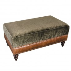 Tetrad Constable Small Footstool Leather & Fabric 4