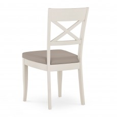 Freeport X Back Dining Chair With Grey Faux Leather Seat Pad