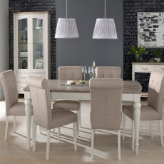 Freeport 4-6 Person Grey Washed Oak Extending Dining Table + 6 Upholstered Grey Fabric Dining Chairs