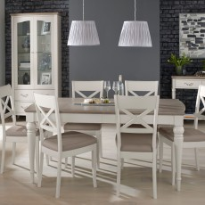 Freeport 4-6 Person Grey Washed Oak Extending Table & 6 X Back Dining Chairs With Faux Leather Pads