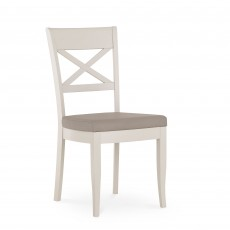 Freeport X Back Dining Chair With Grey Upholstered Fabric Seat Pad