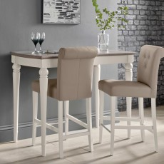 Freeport Grey Washed Oak Bar Table + 2 Grey Faux Leather Upholstered Bar Stools
