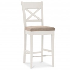 Freeport X Back Bar Stool With Grey Fabric Seat Pad