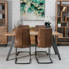 Turnberry Acacia 6 Person Dining Table + 4 Turnberry Antique Faux Leather Dining Chairs