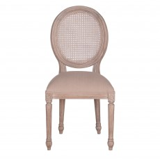 Georgia Rattan Back Dining Chair Rustic Brown With Beige Seat