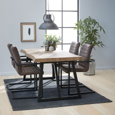 Daintree 6 Person Oak Effect Dining Table + 4 Suffolk Dining Chairs Brown Faux Leather