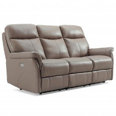 Basilicata Electric Reclining 3 Seater Sofa With Adjustable Headrest & Lumbar Leather