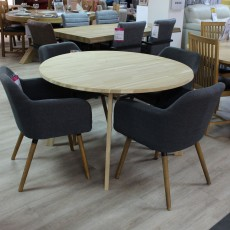 Tilbury 4 Person Untreated Solid Oak Round Dining Table + 4 Dawson Dining Chairs Fabric Dark Grey