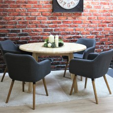 Tilbury 4 Person Round Untreated Solid Oak Dining Table