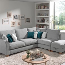 Moseley 3 Seater + 1.5 Seater Corner Sofa RHF With Storage Footstool Fabric C