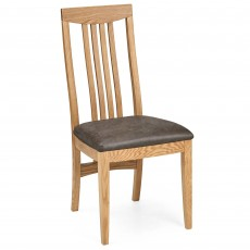 Burrswood Oak Slatted Back Dining Chair Brown Faux Leather