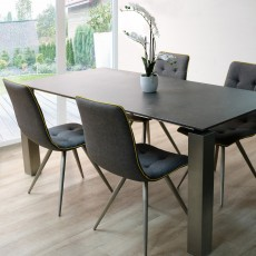 Bastia 6 Person Ceramic Top Table & 4 Upholstered Rimini Dining Chairs