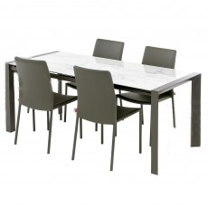 Muravera 4-6 Person Extending Ceramic Top Dining Table & 4 Chia Dining Chairs