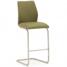 Lazio Bar Stool Faux Leather Olive