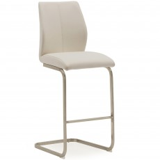 Lazio Bar Stool Faux Leather Taupe