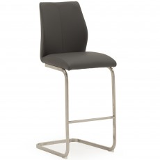 Lazio Bar Stool Faux Leather Grey